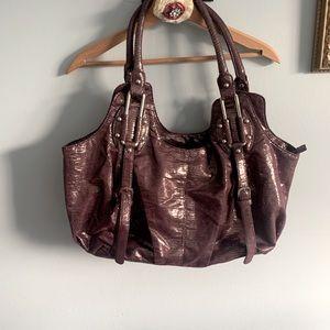3/$15! Large purple shiny hand bag